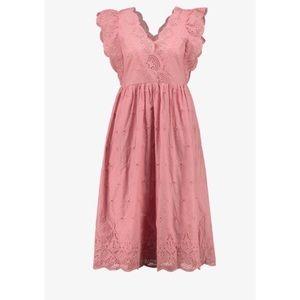 Gap Pink Midi Eyelet Dress